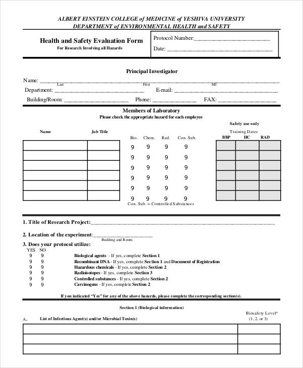 health safety training evaluation form