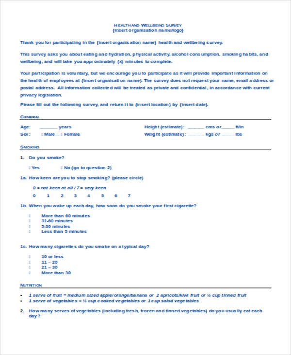 health and well being survey form2