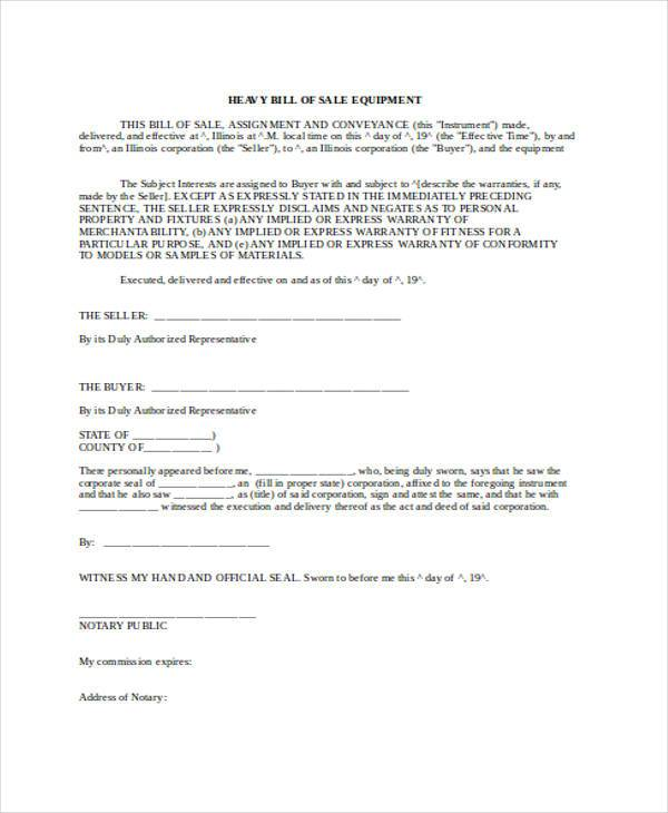 Bill Of Sale Form In Word