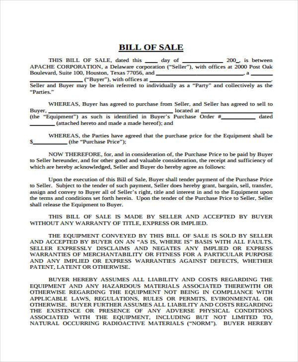 heavy equipment bill of sale