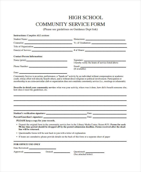 high school community service form