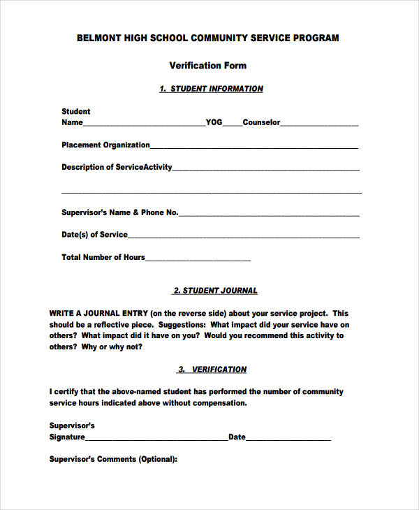 29 sample service forms high school community service form altavistaventures Images