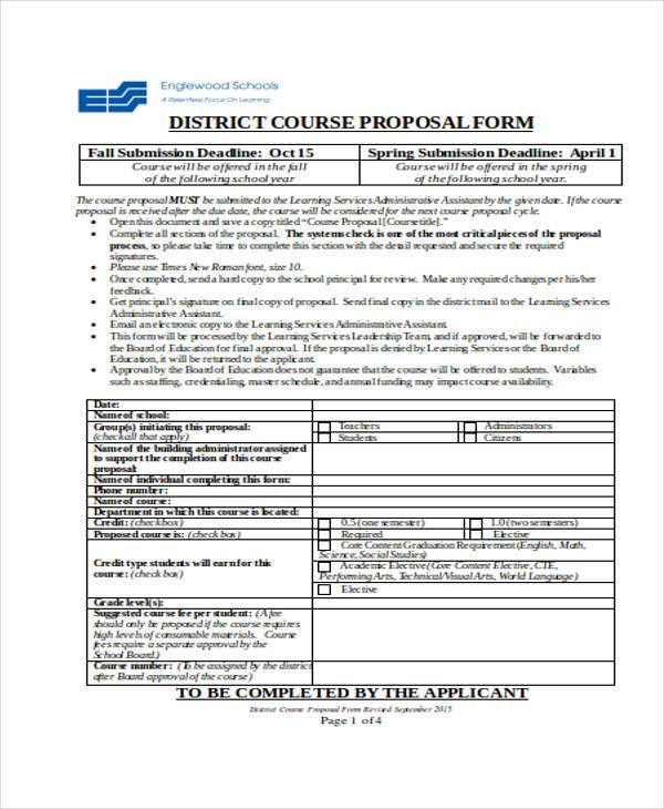 high school course proposal form