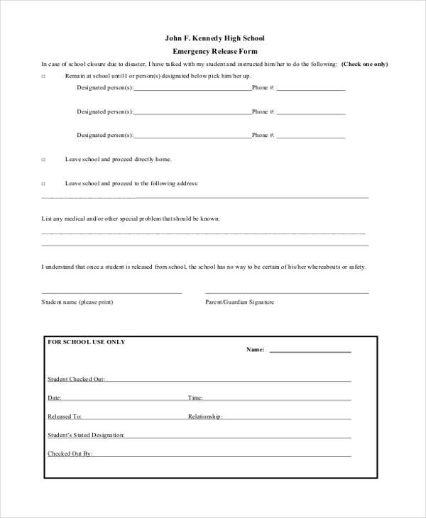 high school emergency release form