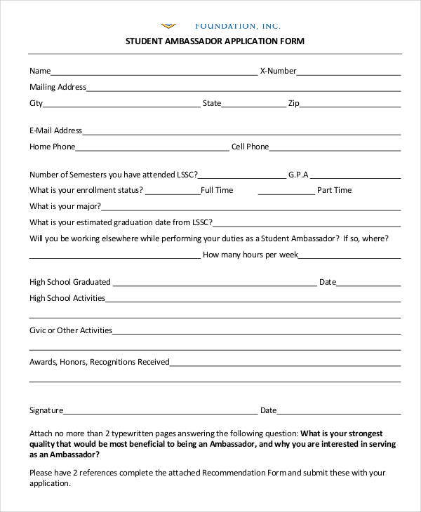 high school student ambassador application form