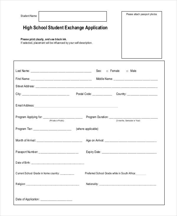 Student Application Form Examples