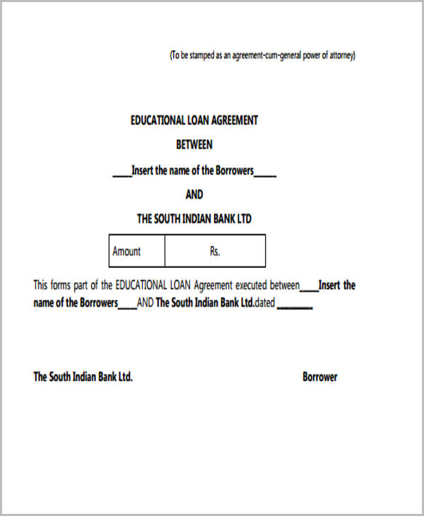 Sample Education Loan Agreement Form  Loan Agreements Forms