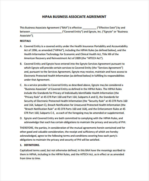 Business Agreement Form Template – Business Associate Agreement Template