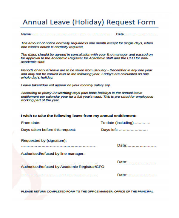 Request Forms in PDF – Holiday Request Form