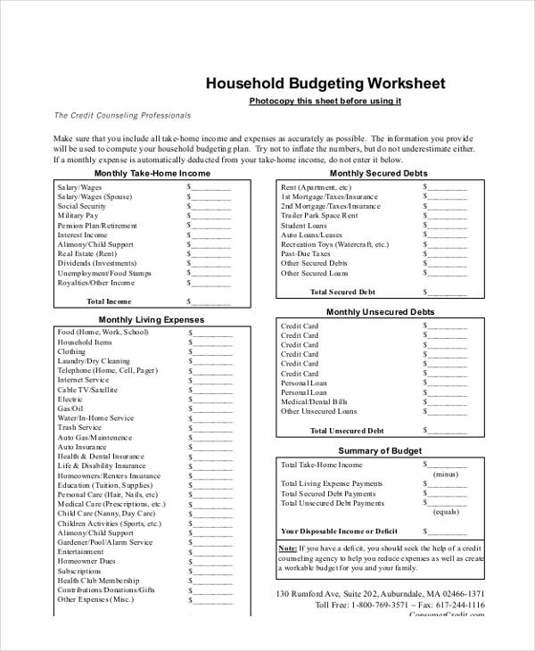 9 Budget Worksheet Form Free Sample Example Format Download – Budgeting Worksheet