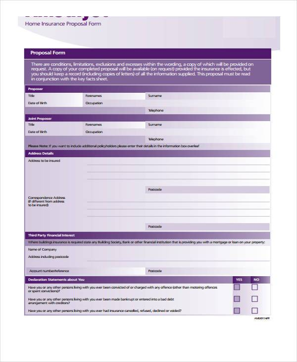 home insurance proposal form example