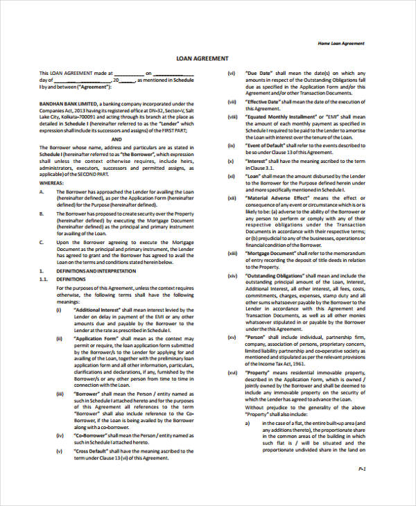 home loan agreement form