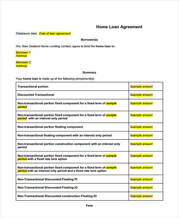 home loan sale agreement