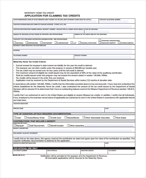 home tax credit application form