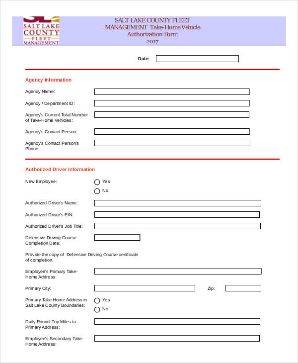 home vehicle authorization form