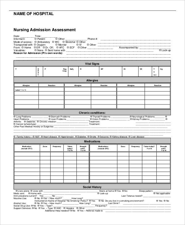hospital nursing admission assessment form1