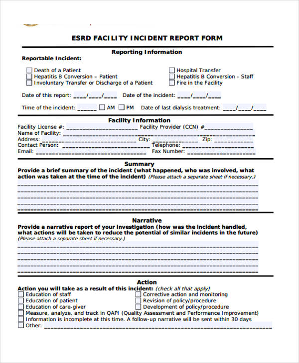 Sample Incident Report Form – Incident Report