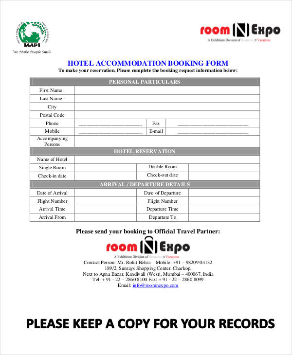 hotel accommodation reservation booking form