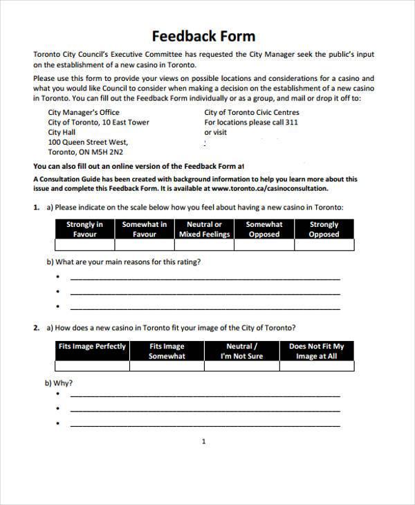 hotel guest feedback form