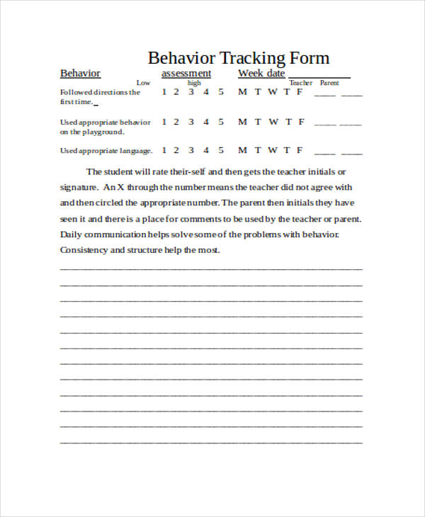 hourly behavior tracking form