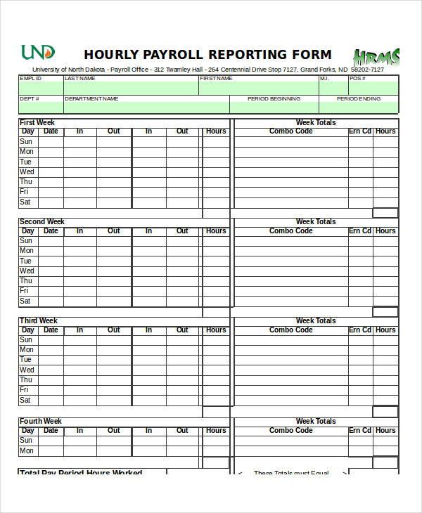 hourly payroll report form