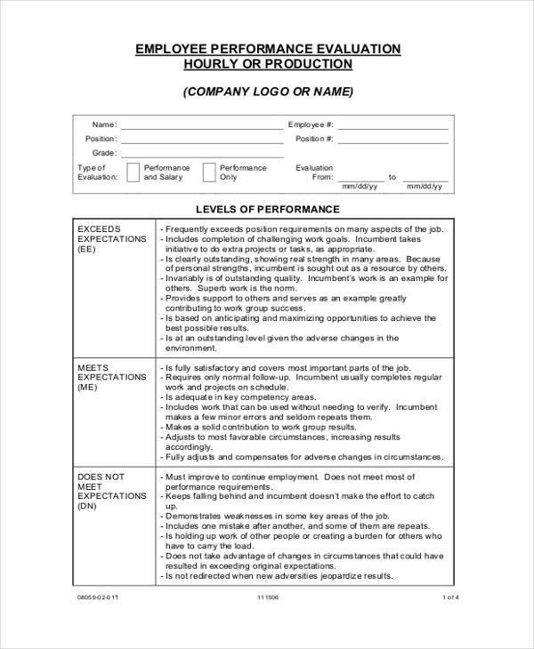 hourly performance employee evaluation form1