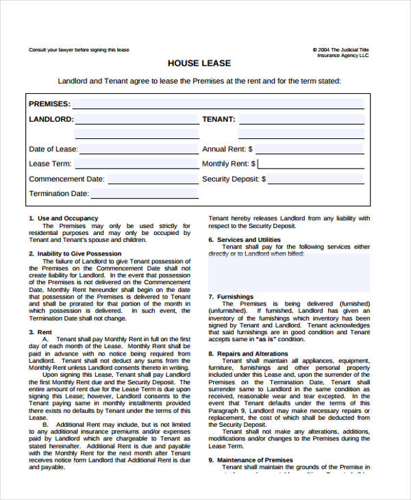 house lease agreement form