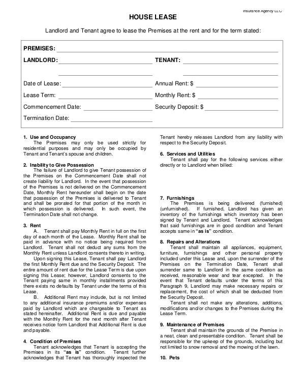 House Lease Agreement Format  House Lease Agreement Format