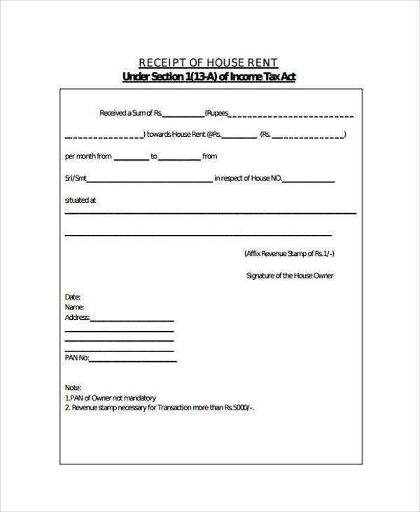 House Rent Receipt Doc Doc Format House Rent Receipt Free