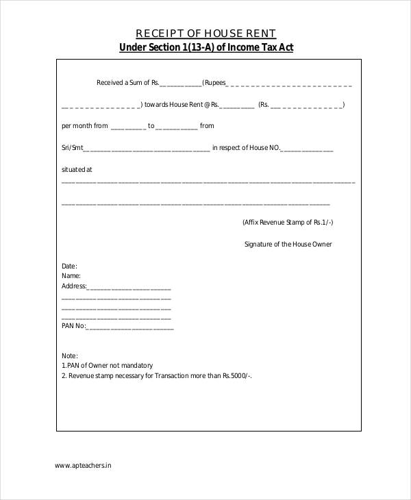 Rent Receipt Form 10 Cash Receipt Sample Reporter Resume