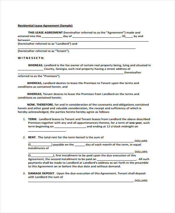 40 Sample Lease Agreement Forms – Lease Agreement Example