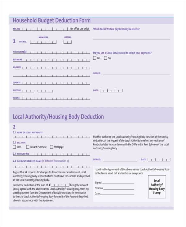 household budget deduction form