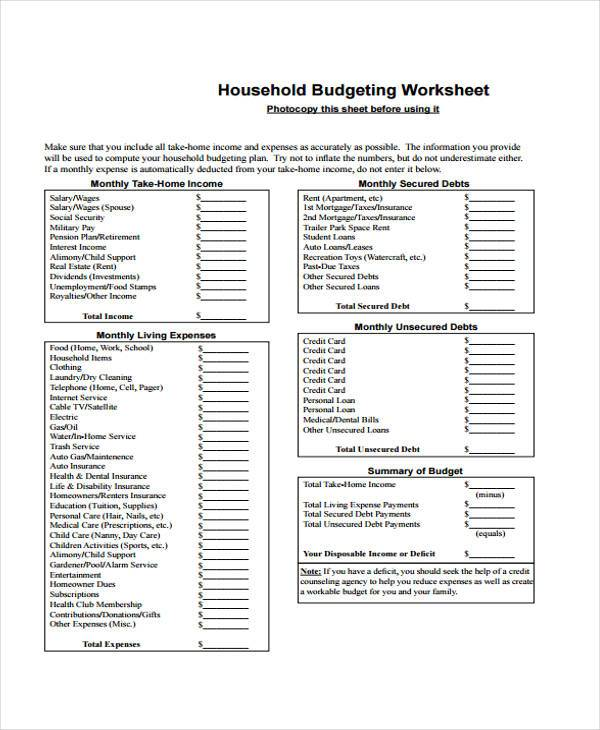 household monthly budget worksheet form