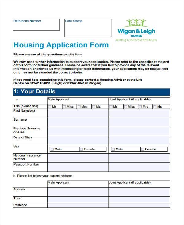 housing association application form