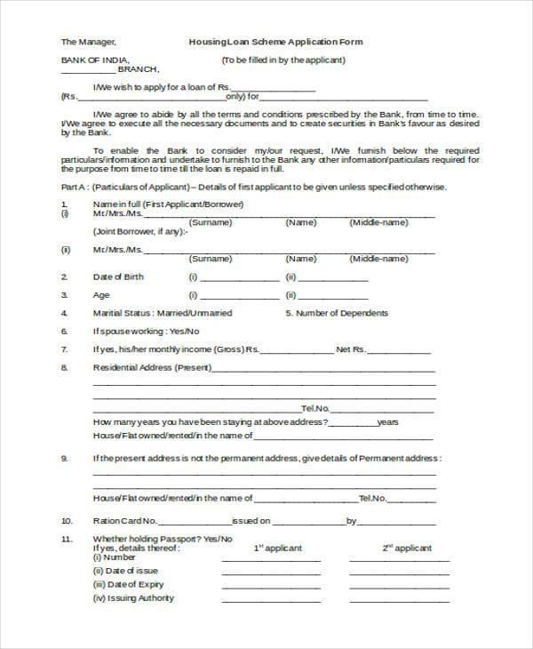 housing loan scheme application form
