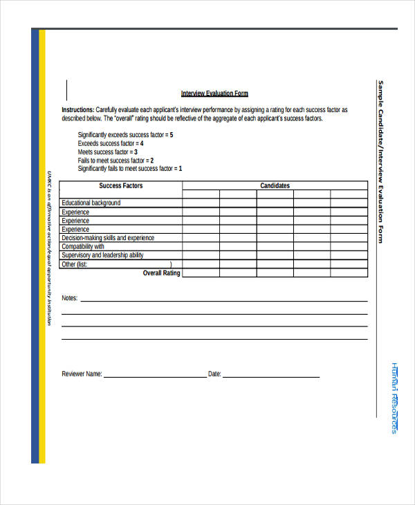 HR Candidate Interview Evaluation Form