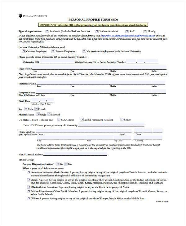 hr payroll profile form4