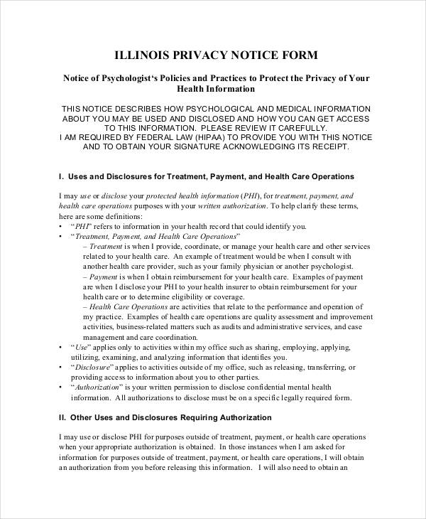 illinois privacy notice form