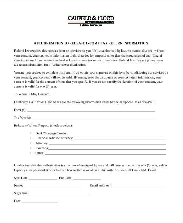 income tax return authorization form