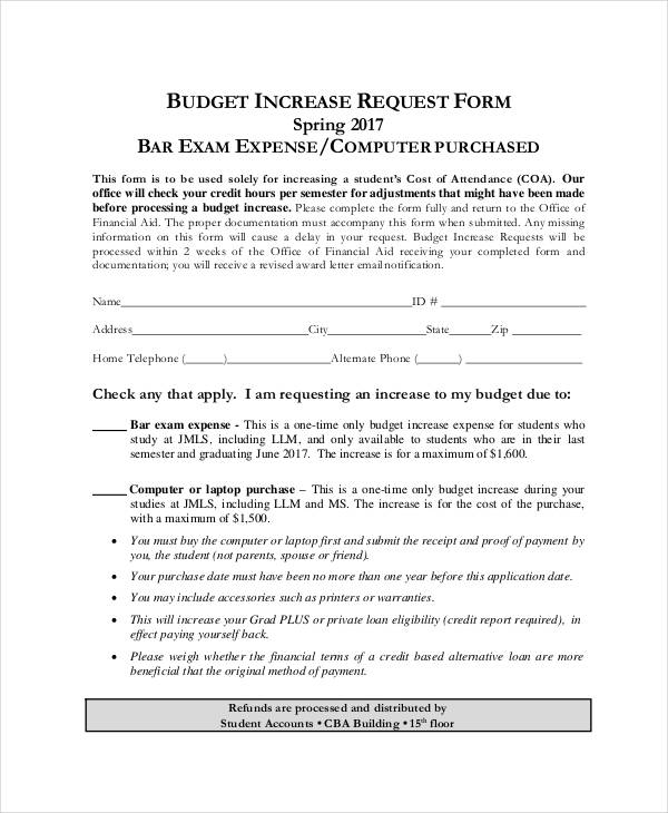 increase budget request form sample