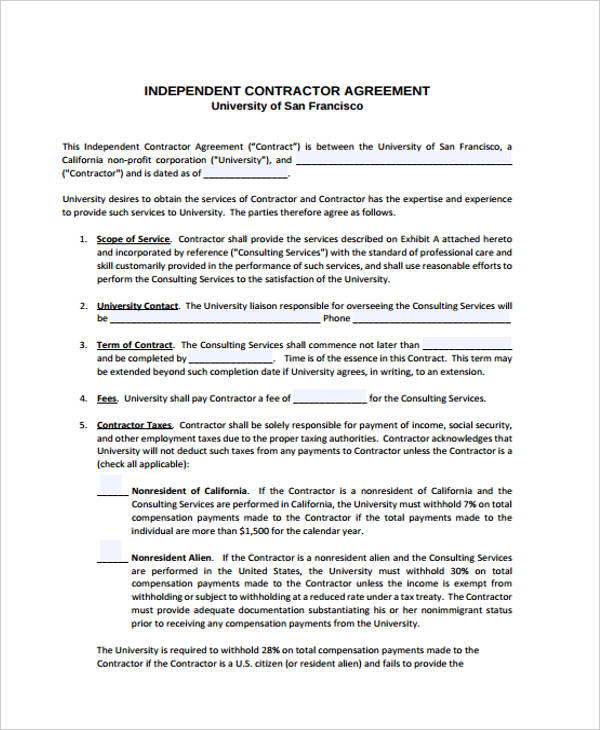 Independent Contractor Agreement Form Independent Contractor – Consulting Service Agreement