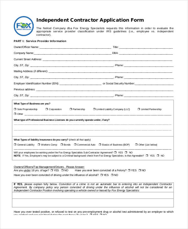 independent contractor application form