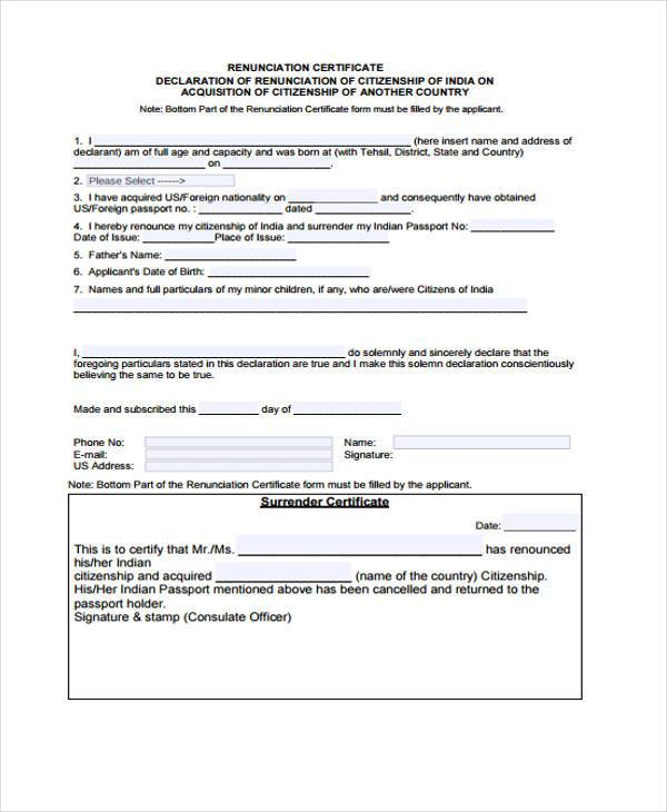 indian renunciation certificate form