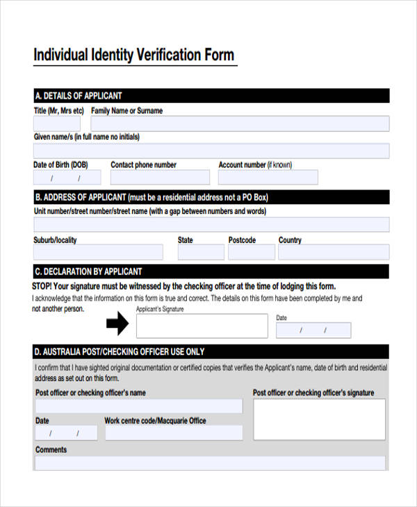 individual identity verification form