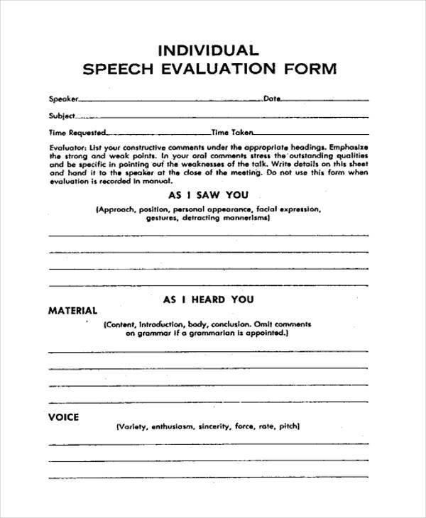 informative speech evaluation form Teacher speech evaluation form 3 teacher speech evaluation form 4 delivery of the speech eye contact effective limited insufficient volume normal loud soft.