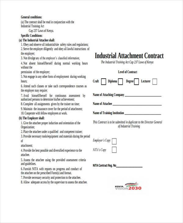 industrial attachment contract form