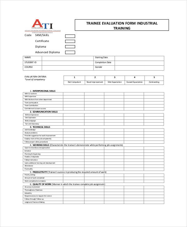 industrial course training evaluation form1