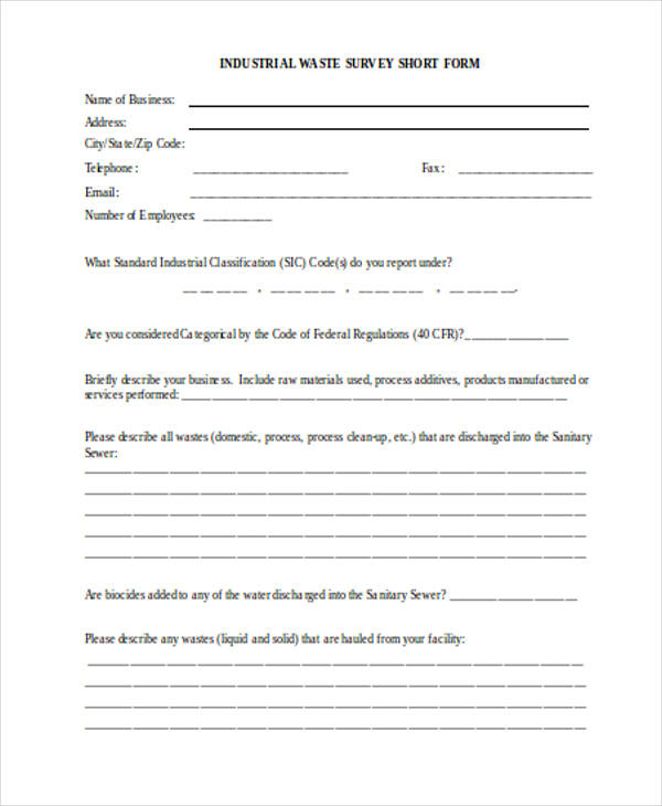 industrial waste survey form1