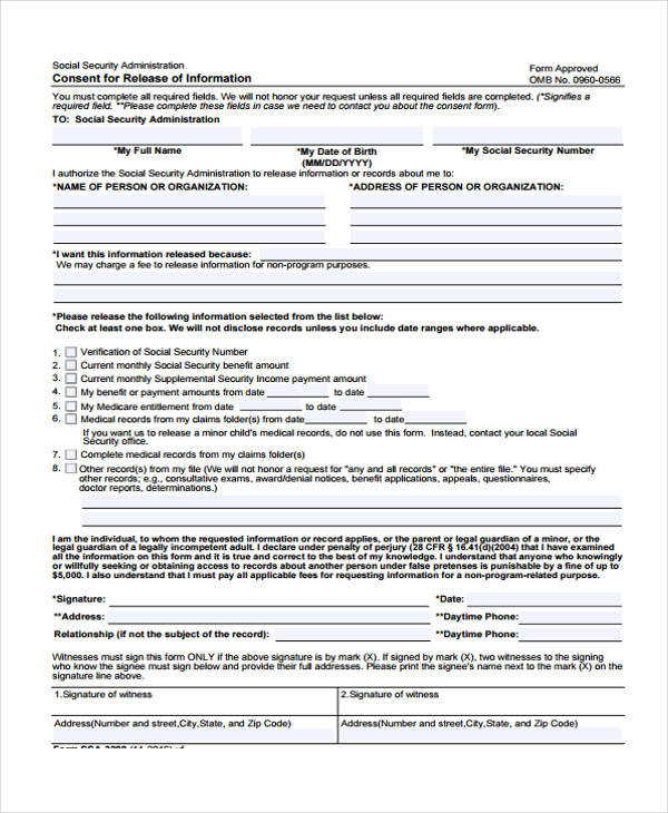 information consent release form
