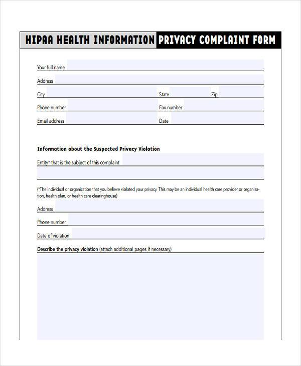 information privacy complaint form